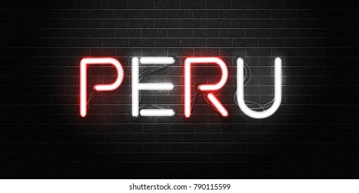 Vector realistic isolated neon sign of Peru lettering for decoration and covering on the wall background. Concept of peruvian culture.