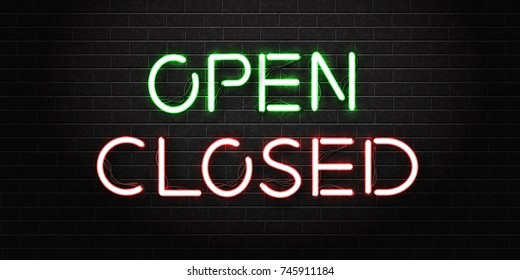 Vector realistic isolated neon signs of open and closed lettering for decoration and covering on a dark brick wall background.