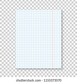 Vector realistic isolated notebook paper list for decoration and covering on the transparent background. Concept of note, posting and education.