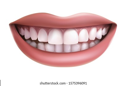 Vector realistic isolated on white background, smile with white teeth.