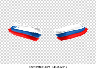 Vector realistic isolated paint on cheeks for football fans with Russia flag coloring for photo decoration and covering on the transparent background. Concept of football championship.