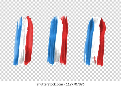 Vector realistic isolated paint on cheeks for football fans with France flag coloring for photo decoration and covering on the transparent background. Concept of football championship.