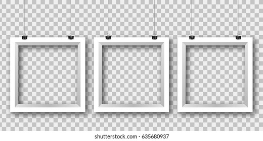 Vector realistic isolated paper white frames on the transparent background for decoration and corporate identity design.