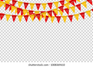 Vector realistic isolated party flags for Valentine's Day with heart pattern for decoration and covering on the transparent background. Concept of romantic event, holiday and celebration.