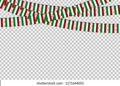 Vector realistic isolated party flags for Indepencence Day in Mexico for decoration and covering on the transparent background. Concept of Viva Mexico.