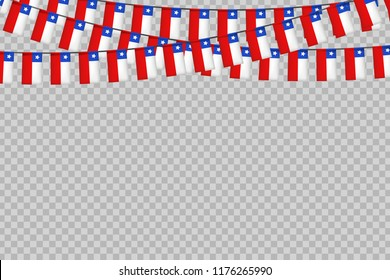 Vector realistic isolated party flags for Independence Day in Chile for decoration and covering on the transparent background. Concept of Felices Fiestas Patrias.