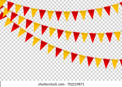 Vector realistic isolated party flags for decoration and covering on the transparent background. Concept of birthday, holiday and celebration.