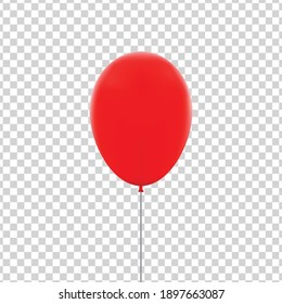 Vector realistic isolated red balloon for celebration and decoration on the transparent background. Concept of happy birthday, anniversary and wedding.
