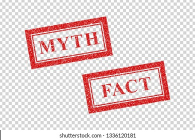 Vector realistic isolated red rubber stamp of Myth and Fact logo for template decoration on the transparent background.