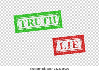 Vector realistic isolated red rubber stamp of Truth and Lie logo for template decoration on the transparent background.