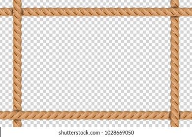 Vector realistic isolated rope frame for decoration and covering on the transparent background.