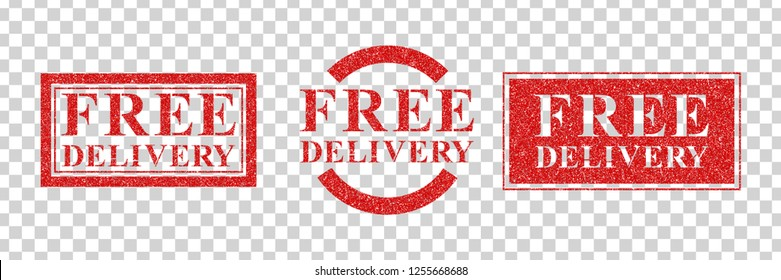 Vector realistic isolated rubber stamp of Free Delivery logo for template decoration and layout covering on the transparent background.