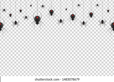 Vector realistic isolated seamless pattern with hanging black widow spiders for template decoration and layout covering on the transparent background. Concept of Happy Halloween.