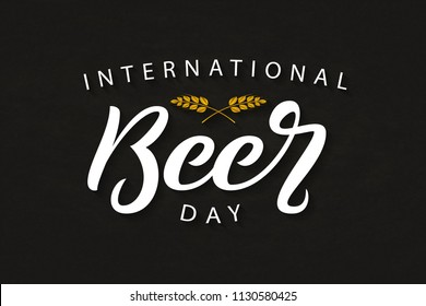 Vector realistic isolated typography logo for International Beer Day for decoration and covering on the dark background.