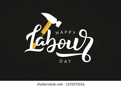Vector realistic isolated typography logo for Labour Day in USA with origami hammer for decoration and covering on the dark background. Concept of Happy Labour Day.