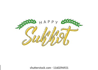 Vector realistic isolated typography logo for Sukkot with thin line design for decoration and covering on the white background.