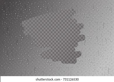 Vector realistic isolated water on glass effect for decoration and covering. Set of water droplets on the transparent background.