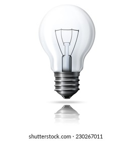 Vector realistic light bulb isolated on white background with reflection.