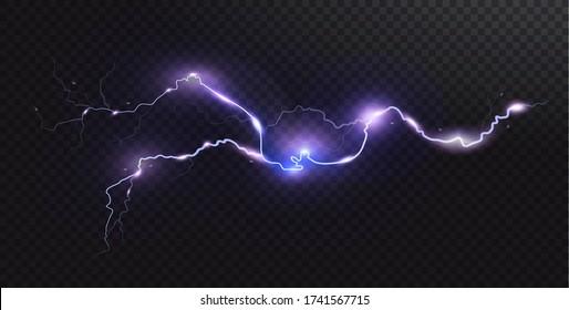 Realistischer Blitz. Gewitter und Blitz. Zauberhafte Lichteffekte. Realistisches Gestaltungselement