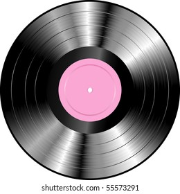 vector realistic LP vinyl record with blank rose label