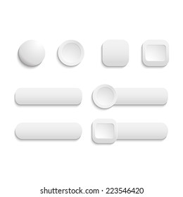 Vector  realistic Matted white color Web  buttons  symbol set isolated  on a white background