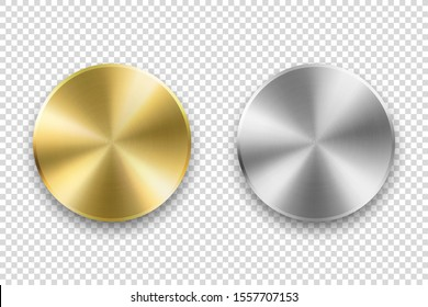 Vector Realistic Metallic Knob. Design Template of Metal Chrome, Steel or Silver Textured Circle Button Closeup Isolated on Transparent Background. Circular processing, Power Volume Playback Control