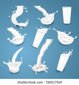Vector realistic milk icons. Splashes, glasses, white drops on blue background