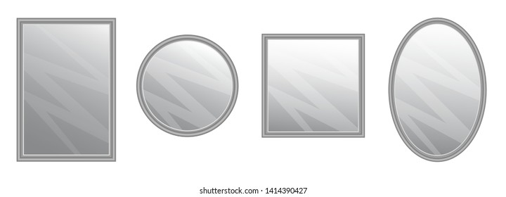 Vector realistic mirrors set with blurry. Frames background reflection or mirror decor interior vector illustration.