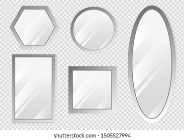 Vector realistic mirrors set with blurry reflection. Reflective mirror surface in silver frame, mirroring glass decor interior vector illustration