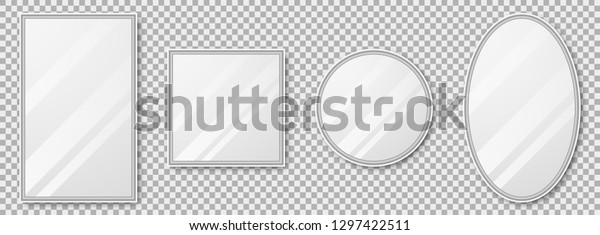 Vector realistic mirrors set with blurry reflection. Mirror frames or mirror decor interior vector illustration