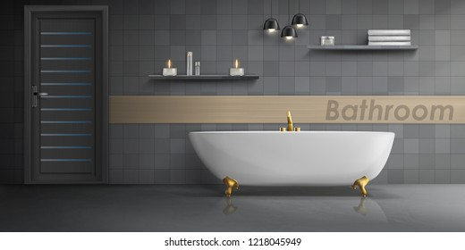 Vector realistic mockup of bathroom interior with big white ceramic bathtub, golden metal tap, tiled wall with lamps and clean floor. Luxury washroom, minimalist modern design, concept background