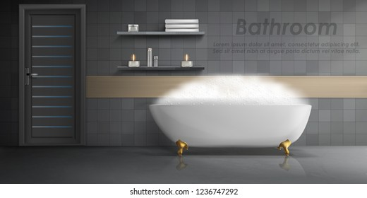 Vector realistic mockup of bathroom interior, big white ceramic bathtub with foam, shelves with candles, gray tiled wall and clean floor. Luxury washroom, minimalist modern design, concept background