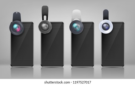 Vector realistic mockup, black smartphones with various clip-on lenses, isolated on background. Mini objectives to attach on cell phone photo camera, modern portable gadgets for mobile devices