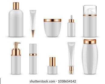 Vector realistic mockup for cosmetic containers for creams and tonic bottles. Bottle and tube, tonic cream for care skin illustration