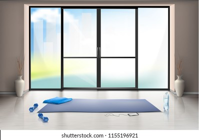 Vector realistic mockup of empty gym hall for fitness trainings with blue yoga mat and dumbells on clean floor. Entrance room with large glass door, interior inside, template for your design
