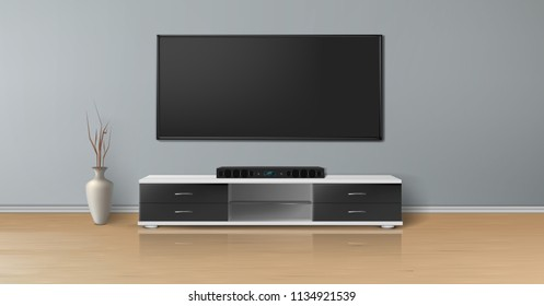 Vector realistic mockup of empty room with plasma tv on flat gray wall, home theater system on black stand, vase on wooden floor. Studio with minimalistic interior. Template for your creative design