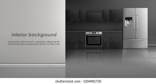 Vector realistic mockup of kitchen room interior with household appliances, refrigerator, build-in stove, black cabinets on gray wall and tiled floor. Minimalist modern design, concept background