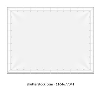 Vector realistic mock-up (layout) of a blank fabric banner, advertising stand, outdoor poster, rectangular (4:3) wall streamer with metal (iron) frame. The image was created using gradient mesh EPS10.
