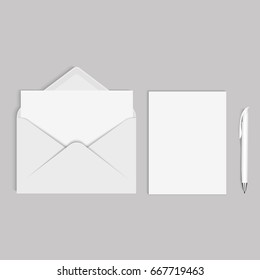 Vector realistic mockup for letter and pen or invitation card
