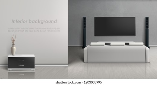 Vector realistic mockup of living room with modern home theater system. Interior background with furniture, lounge with white sofa, large plasma display panel on gray wall for watching movies and tv