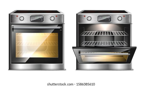 Vector realistic modern oven, multi function stove with touch menu and timer in two views, with open and close door with light.
