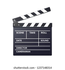 Vector realistic movie clapper slapstick with markup front view close up isolated on white background