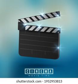 Vector realistic movie clapper slapstick