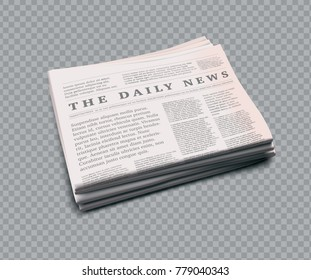 Vector realistic newspaper with empty space to add your own text and pictures on transparent background.