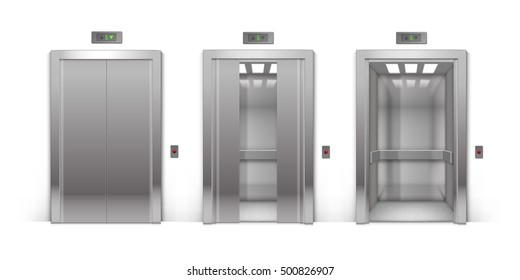 Vector Realistic Open Half-Open Half-Closed and Closed Chrome Metal Office Building Elevator Doors Isolated on Background