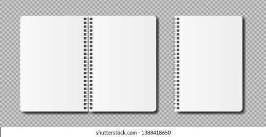 Vector realistic open notepad template. Mockup clean notebook for sketch or lettering.