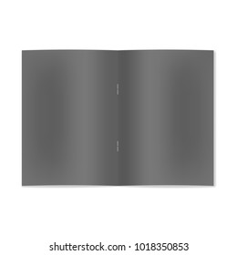 Vector realistic opened black notebook, brochure or magazine on staple mockup with sheet of A4. Blank front view of centre pages of sketchbook or notepad template for store catalog, cafe menu design