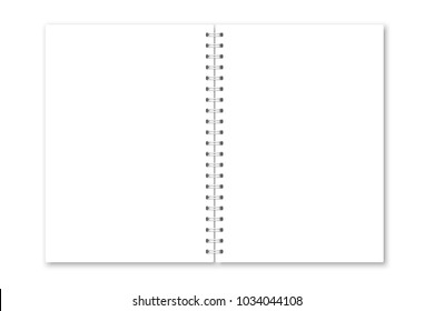 Vector realistic opened notebook cover. Vertical white metallic silver spiral bound blank copybook. Mockup (mock up) of organizer or diary isolated.