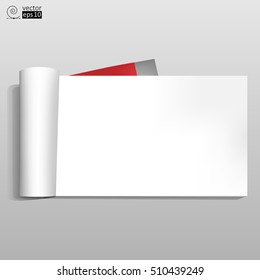 vector realistic opened notebook for recording with blank page. Landscape orientation.