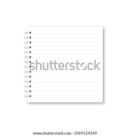 vector realistic opened notebook square white のベクター画像素材